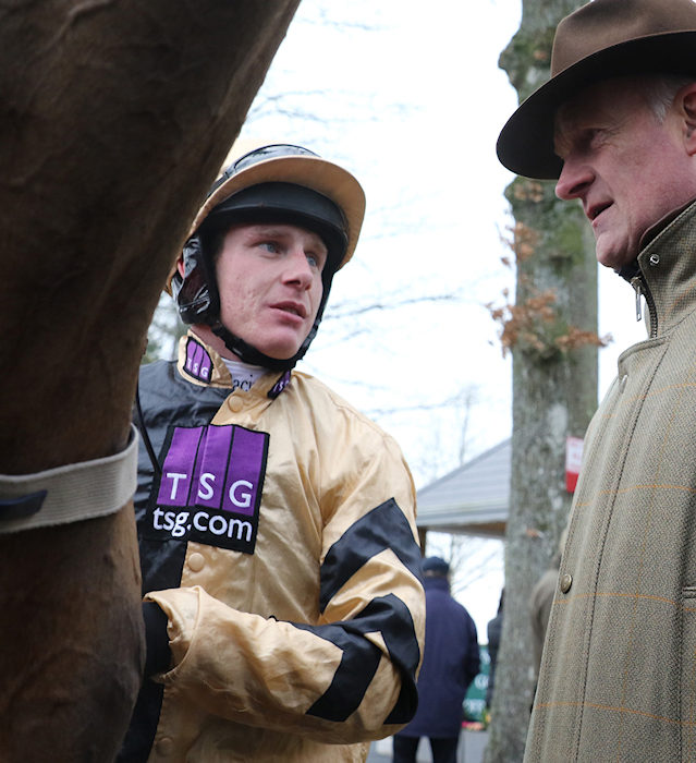 GOWRAN PARK THURS 26 JANUARY 2017 PICTURE: CAROLINE NORRIS  PAUL TOWNEND AND WILLIE MULLINS AFTER SHANESHILL HAD WON THE JOHN MULHERN GALMOY HURDLE