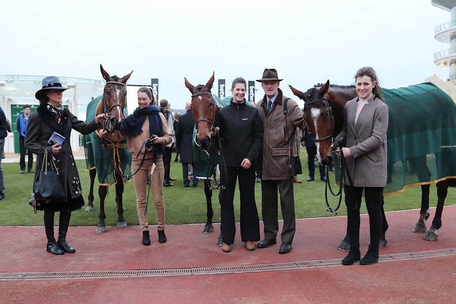 Cheltenham Wed 14 March March 2018  Picture: Caroline Norris Willie Mullins trained the first three home in The Weatherbys Champion Bumper, Tornado Flyer, 3rd, Relegate and Rachel Robins, winner, and Carefully Selected, 2nd. Jackie Mullins is on left