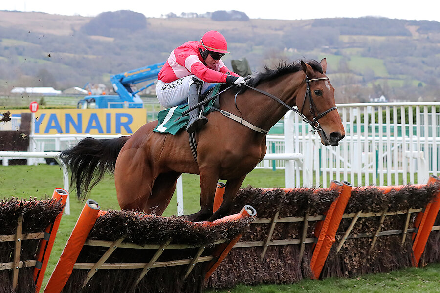Cheltenham Thurs 15 March March 2018  Picture: Caroline Norris Laurina ridden by Paul Townend jumping the last to win The Trull House Stud Mares Novice Hurdle