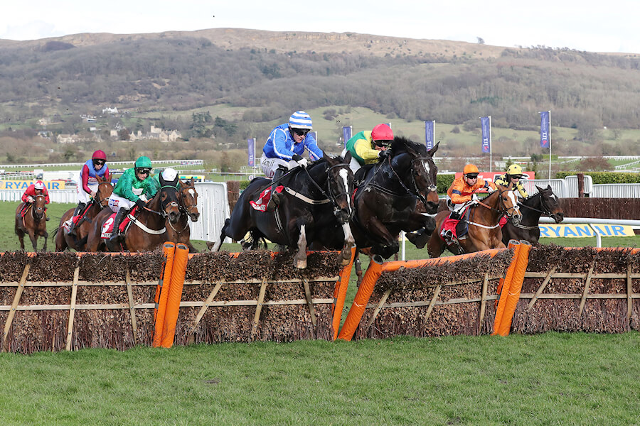 Cheltenham Thurs 15 March March 2018  Picture: Caroline Norris Penhill ridden by Paul Townend, left, winner, and Supasundae ridden by Robert Power, right, 2nd, jumping the last in The Sun Bets Stayers Hurdle