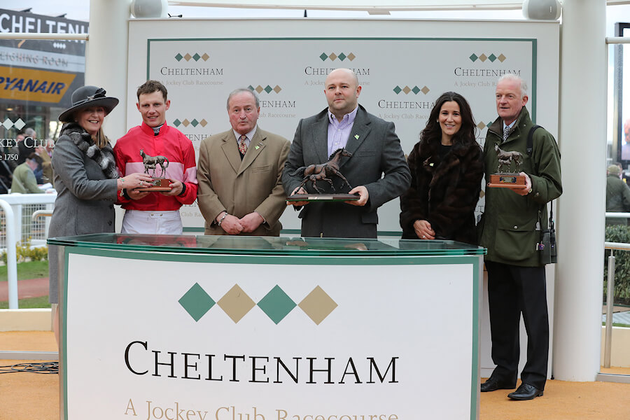 Cheltenham Thurs 15 March March 2018  Picture: Caroline Norris The presentation for The Trull House Stud Mares Novice Hurdle won by Laurina to Paul Townend, Jared Sullivan, his wife Bibi and Willie Mullins
