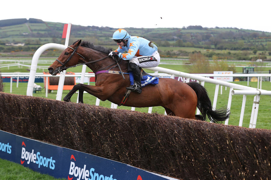 Punchestown Tues 24 April 2018  Picture: Caroline Norris Un De Sceaux ridden by Patrick Mullins jumping the last fence to win The Boylesports Champion Steeplechase