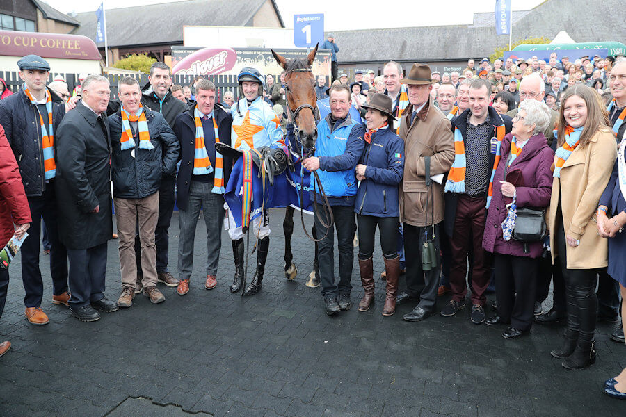 Punchestown Tues 24 April 2018  Picture: Caroline Norris Un De Sceaux with the O'Connell family, Patrick and Willie Mullins and Virginnie Bascop after winning The Boylesports Champion Steeplechase