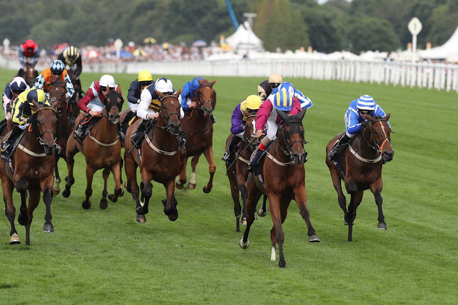 Royal Ascot Tues 19 June 2018  Lagostovegas ridden by Andrea Atzeni, striped cap, winning The Ascot Stakes from Dubawi Fifty ridden by Silvestre De Sousa, left. 2nd, Stratum ridden by Robert Winston, right, 3rd, Chelkar ridden by Ryan Moore, white sleeves, 4th, and Whiskey Sour ridden by Christophe Soumillon, behind winner, 5th. Photo.carolinenorris.ie