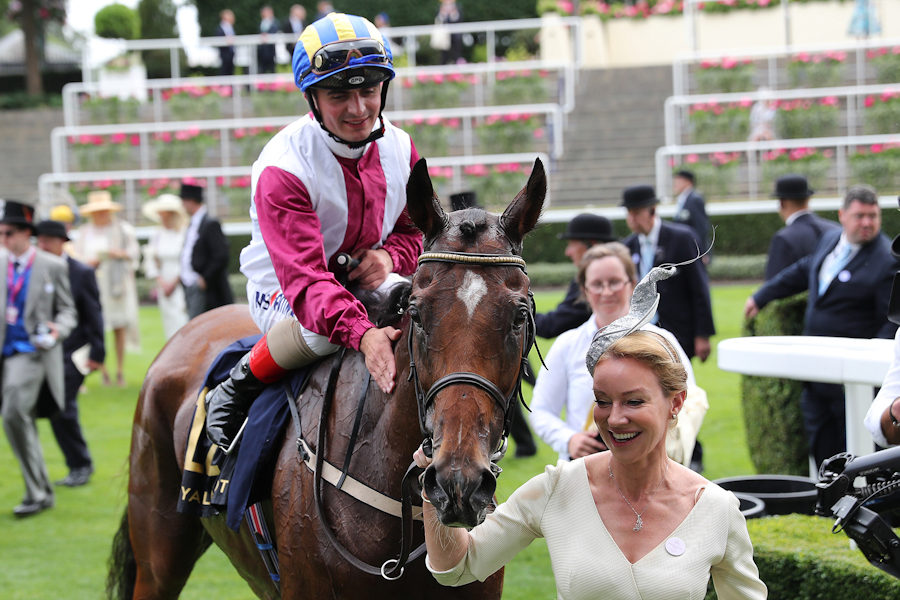 Royal Ascot Tues 19 June 2018  Lagostovegas ridden by Andrea Atzeni being led in after winning The Ascot Stakes by Aoife Donohue Photo.carolinenorris.ie