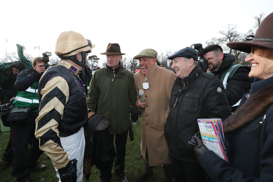 Leopardstown Sun 3 February 2019 Ruby Walsh, Willie Mullins, Dave Armstrong and Graham Wylie after Bellshill had won The Unibet Irish Gold Cup Photo.carolinenorris.ie