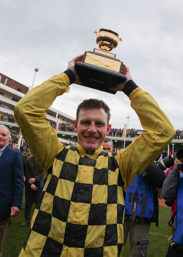 Cheltenham Fri 15 March 2019 Paul Townend with The Magners Cheltenham Gold Cup which he won with Al Boum Photo Photo.carolinenorris.ie