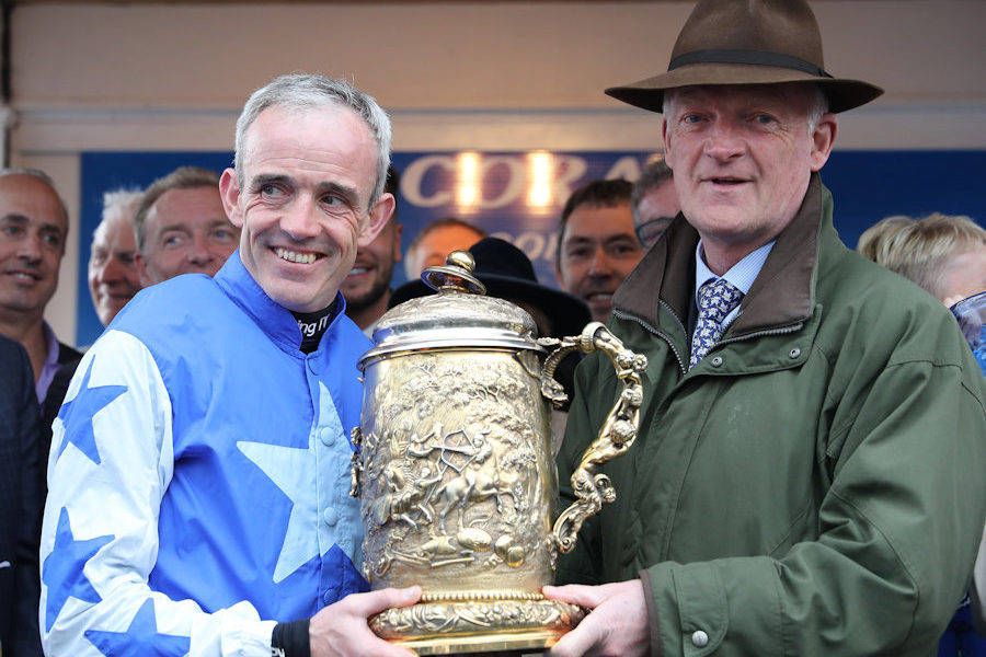 Punchestown Wed 1 May 2019 Ruby Walsh, after riding  his last winner on Kemboy, with Willie Mullins and the trophy for The Coral Punchestown Gold Cup Photo.carolinenorris.ie