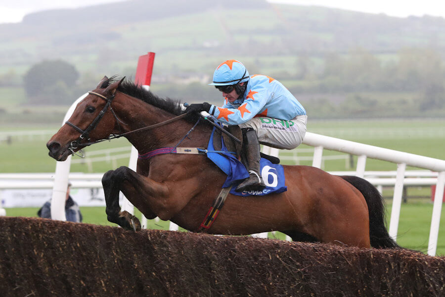 Punchestown Tues 30 April 2019 Un De Sceaux ridden by Paul Townend jumping the last fence to win The Boylesports Champion Steeplechase Photo.carolinenorris.ie