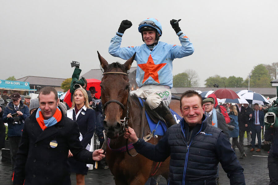 Punchestown Tues 30 April 2019 Un De Sceaux ridden by Paul Townend being led in by Eamonn O'Connell and Anatoliy Yakovlyev after winning The Boylesports Champion Steeplechase Photo.carolinenorris.ie