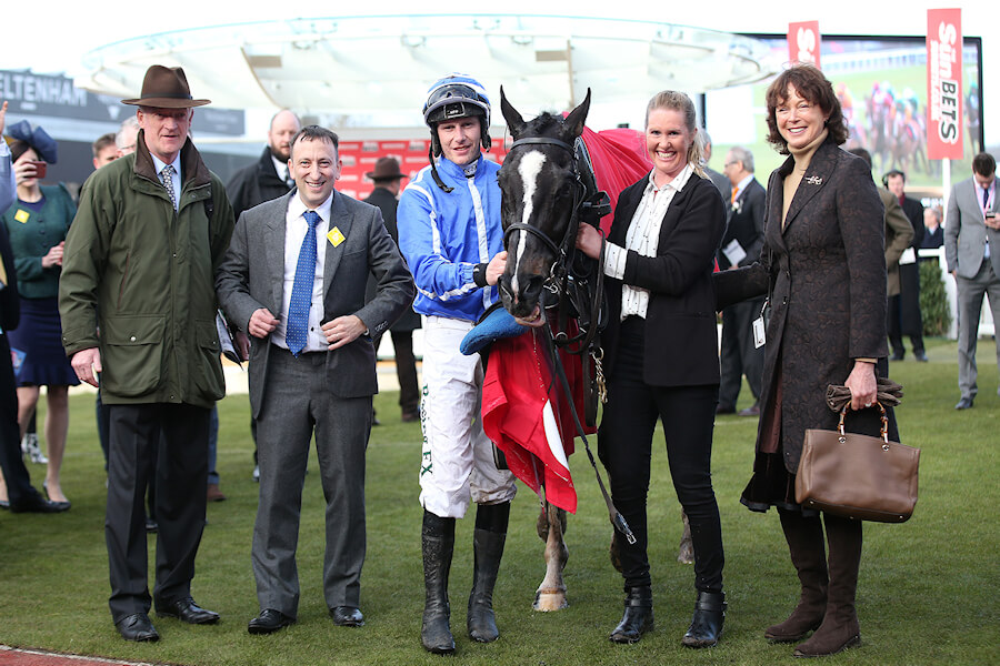 Cheltenham Thurs 15 March March 2018  Picture: Caroline Norris Penhill with Willie Mullins, Tony Bloom, Holly Conte and Jackie Mullins after winning The Sun Bets Stayers Hurdle