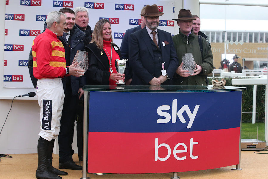 Cheltenham Tues 12 March 2019 Ruby Walsh, Joanne Coleman and Willie Mullins accepting the trophies for The Sky Bet Supreme Novices Hurdle Race won by Klassical Dream Photo.carolinenorris.ie