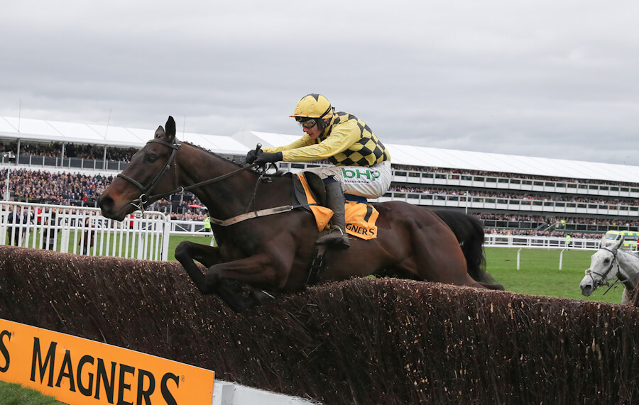 Cheltenham Fri 15 March 2019 Al Boum Photo ridden by Paul Townend jumping the last fence to win The Magners Cheltenham Gold Cup Photo.carolinenorris.ie