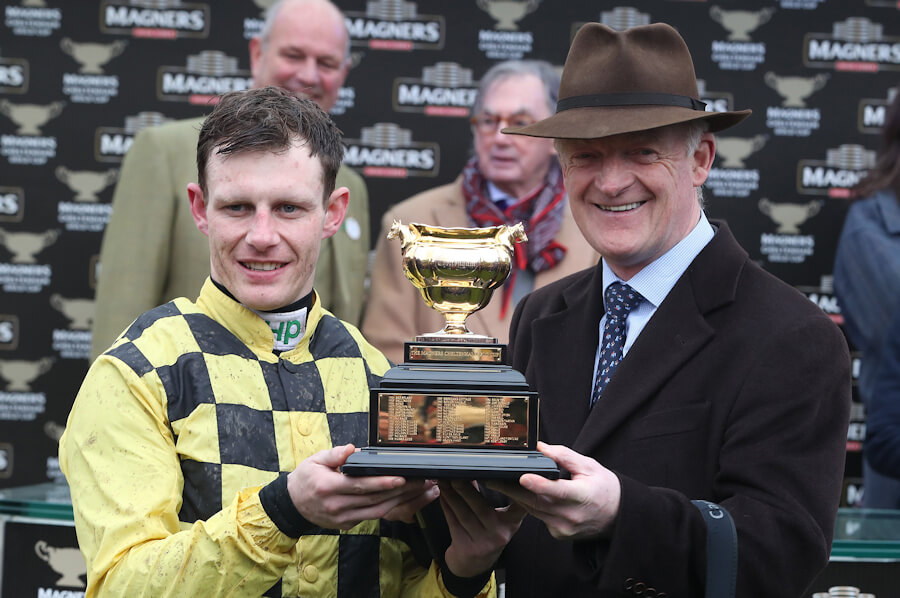 Cheltenham Fri 15 March 2019 Paul Townend and Willie Mullins with The Magners Cheltenham Gold Cup which they won with Al Boum Photo Photo.carolinenorris.ie
