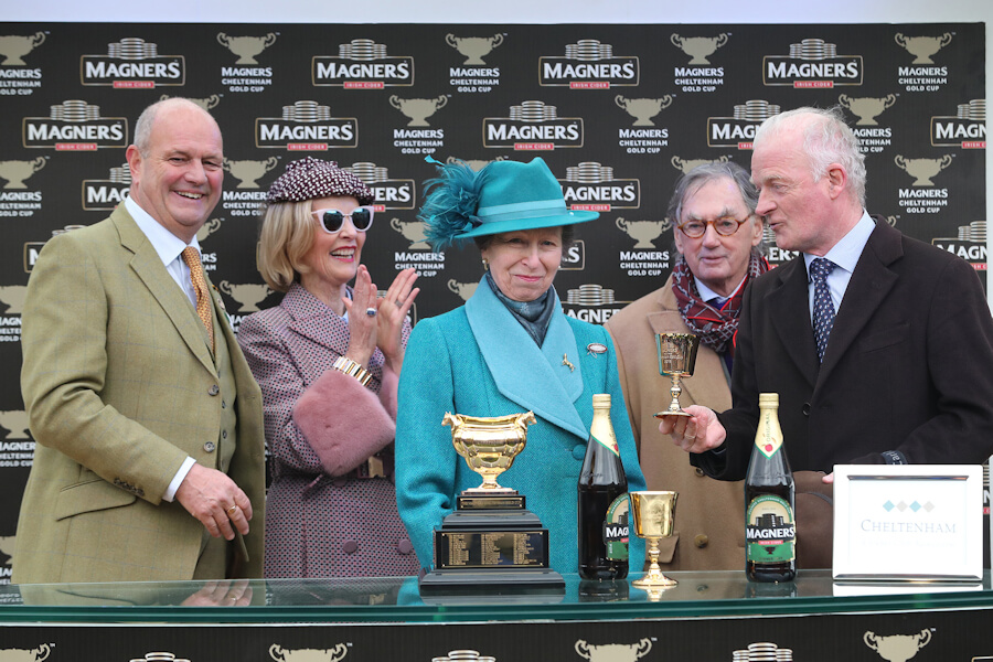 Cheltenham Fri 15 March 2019 Ian Price and Princess Anne presenting The Magners Cheltenham Gold Cup won by Al Boum Photo to Marie and Joe Donnelly and Willie Mullins Photo.carolinenorris.ie
